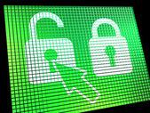 Schermo computer lucchetto sbloccato mostrando l'accesso o la protezione su — Foto Stock