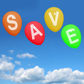 Save Word On Balloons As Symbol For Discounts Or Promotion — Stock Photo