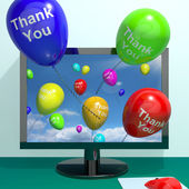Thank You Balloons Coming From Computer As Online Thanks Message — Stock Photo