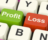 Profit Or Loss Keys Showing Returns For Internet Business — Foto Stock