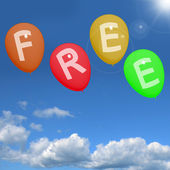 Balloons In Sky Spelling Free Showing Freebies and Promotions — Stock Photo