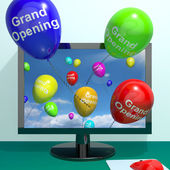 Grand Opening Balloons From Computer Showing New Online Store La — Stock Photo