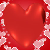 Heart With Red Hearts Background Showing Loving And Romance — Stock Photo