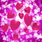 Hearts Falling With Mauve Bokeh Background Showing Love And Roma — Stock Photo