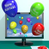 New Arrival Balloons From Computer Showing Latest Product Online — Stock Photo