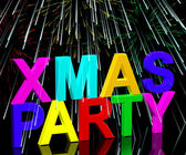 Xmas Party Words With Fireworks Showing A Christmas Celebration — Stock Photo