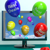 Best Deals Balloons From Computer Representing Bargains Or Disco — Stock Photo