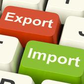 导出和导入键显示国际贸易或全球 com — 图库照片