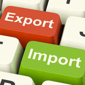 Export And Import Keys Showing International Trade Or Global Com — Stock Photo