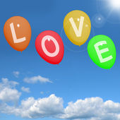 Love Balloons In The Sky Showing Loving And Romance For Valentin — Stock Photo