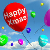 Balloons Floating In The Sky With Happy Xmas — Stock Photo