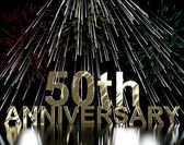 Gold 50th Anniversity With Fireworks For Fiftieth Celebration Or — Stock Photo