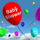 Baby Shower On Balloons In Sky For Newborn Birth Party — Stock Photo