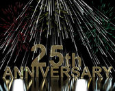 Gold 25th Anniversity With Fireworks For Twenty Fifth Celebratio — Stock Photo