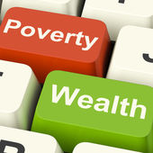 Poverty And Wealth Computer Keys Showing Rich Versus Poor — Stock Photo