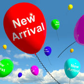 New Arrival Balloons In The Sky Showing Latest Product Online Or — Stock Photo