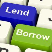 借款和贷款显示借款或贷款在互联网络上的键 — 图库照片