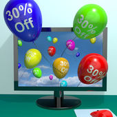 Balloons From Computer Showing Sale Discount Of Thirty Percent — Stock Photo
