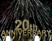 Gold 20th Anniversity With Fireworks For Twentieth Celebration O — Stock Photo