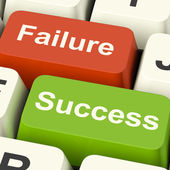 Success And Failure Computer Keys Showing Succeeding Or Failing — Stock Photo