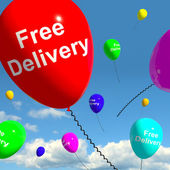 Free Delivery Balloons Showing No Charge Or Gratis To Deliver — Stock Photo