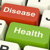 Disease And Health Computer Keys Showing Online Healthcare Or Tr — Stock Photo