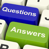 Questions And Answers Computer Keys Showing Support Knowledge An — Stock Photo