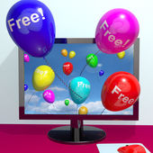 Balloons With Free Coming Through Computer Showing Freebies and — Stock Photo
