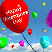 Happy Valentines Day Balloons In The Sky Showing Love And Affect — Stock Photo