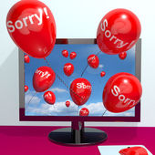 Sorry Balloons From Computer Showing Online Apology Regret Or Re — Stock Photo