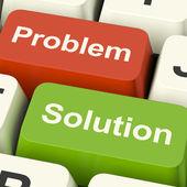 問題と解決策のコンピューター キー示す援助および発明 — ストック写真