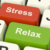 Stress Relax Computer Keys Showing Pressure Of Work Or Relaxatio — Foto de Stock
