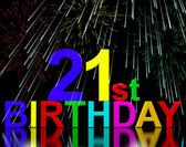Twenty First Or 21st Birthday Celebrated With Fireworks — Stock Photo