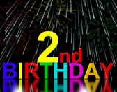 Second Or 2nd Birthday Celebrated With Fireworks — Stock Photo