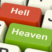 Heaven Hell Computer Keys Showing Choice Between Good And Evil O — Stock Photo