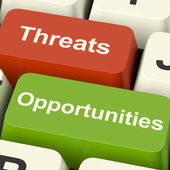 Threats And Opportunities Computer Keys Showing Business Risks O — Stock Photo