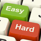 Hard Easy Computer Keys Showing The Choice Of Difficult Or Simpl — Stock Photo
