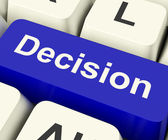 Decision Computer Key Representing Uncertainty And Making Decisi — Stock Photo