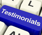 Testimonials Computer Key Showing Recommendations And Tributes O — Stock Photo