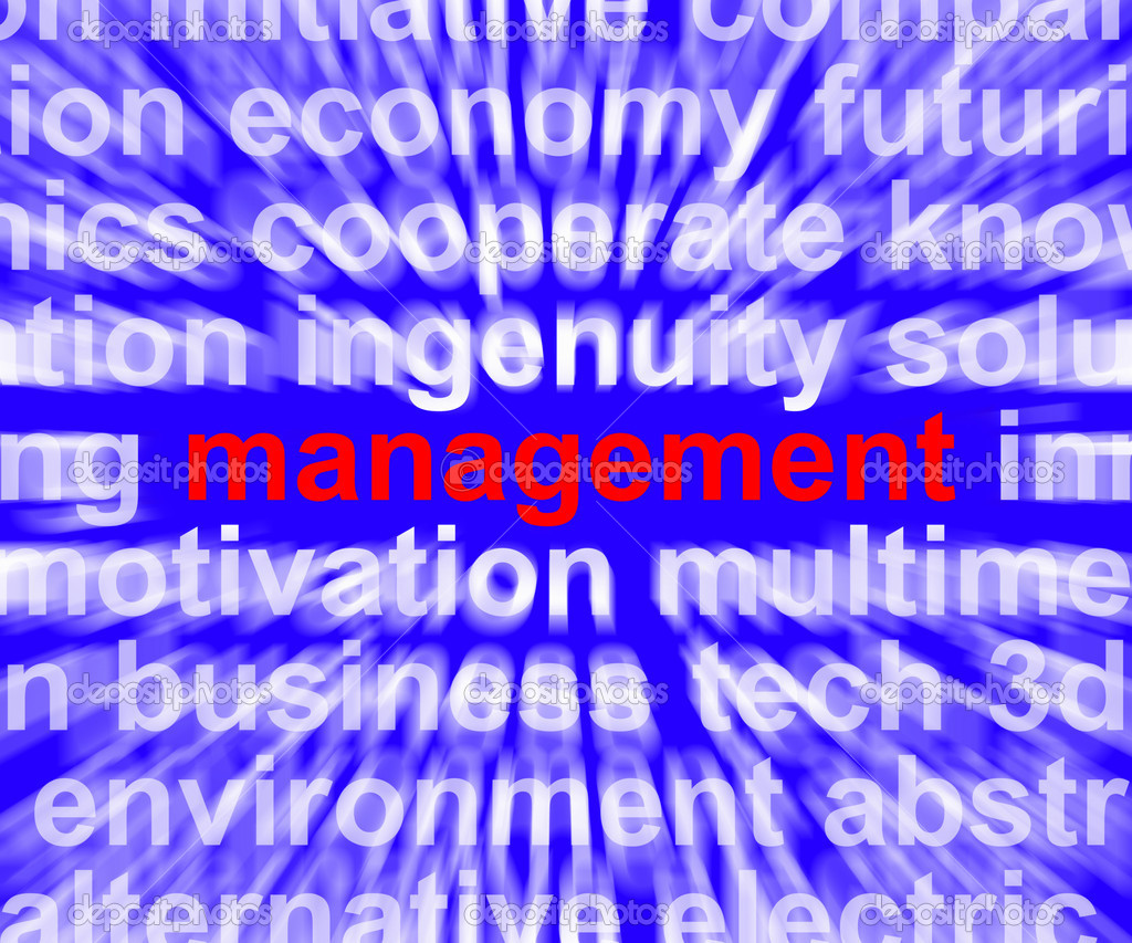 Management Word Shows Business Leadership Logistics And Organization — Stock Photo #10447842