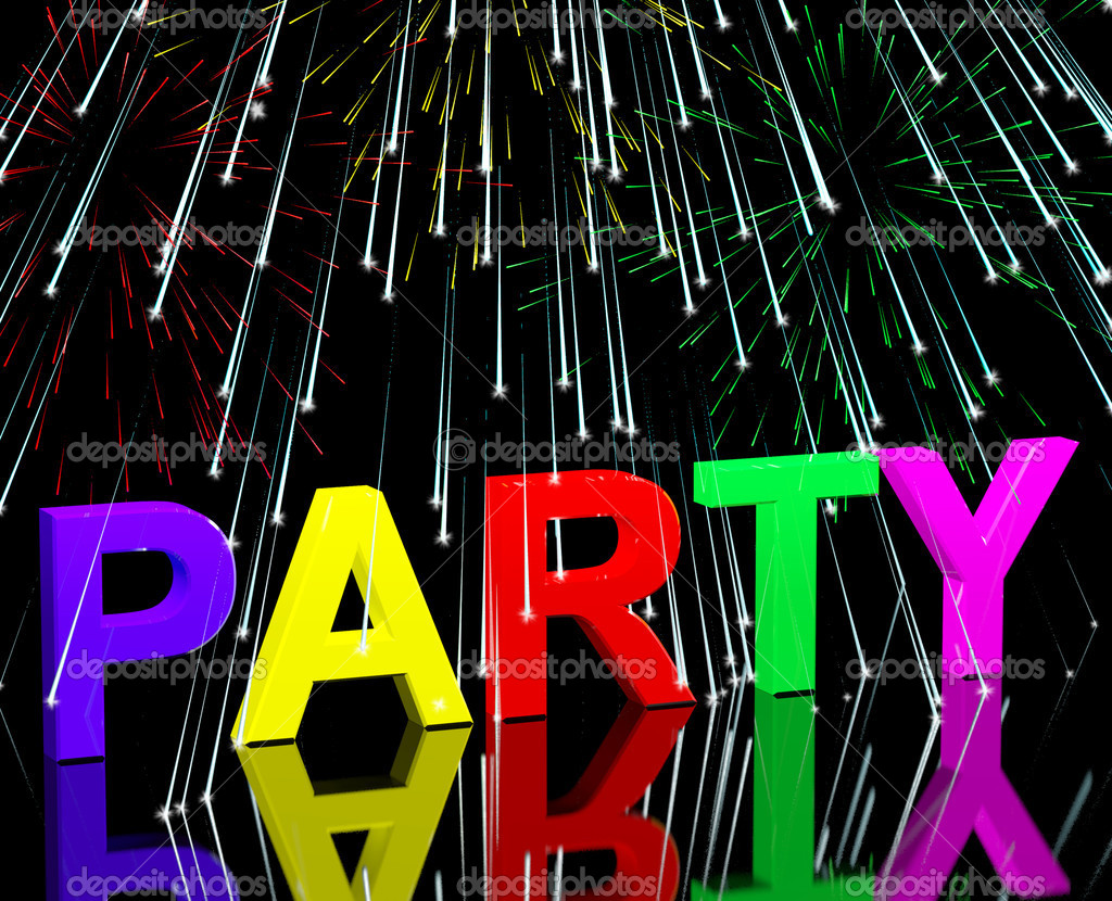 Party Word With Fireworks Showing Clubbing Nightlife Or Discos — Stock Photo #10448621
