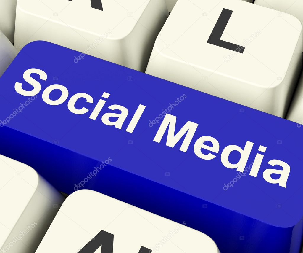 Social Media Blue Computer Key Showing Online Community — Stock Photo #10449949