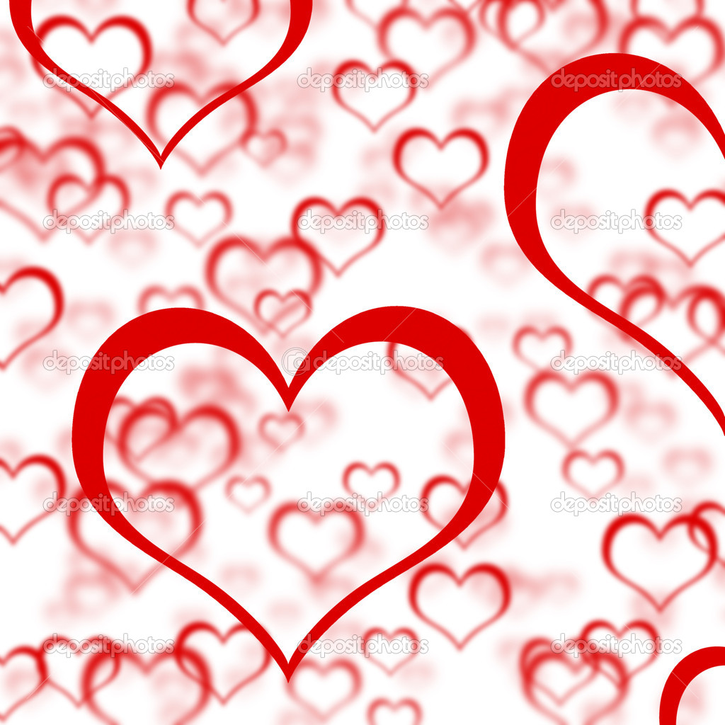 Red Hearts Background Showing Romance Love And Valentine — Stock Photo #10449988
