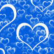 Blue Hearts Background Showing Romance Love And Valentines — Stock Photo
