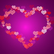 Red And Mauve Hearts Background With Copy Space Showing Love Rom — Stock Photo