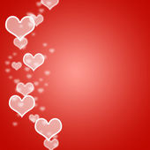 Red Hearts Bokeh Background With Blank Copyspace Showing Love An — Stock Photo