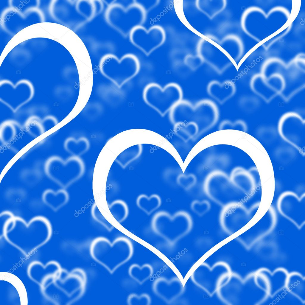 Blue Hearts Background Showing Romance Love And Valentine — Stock Photo #10450016