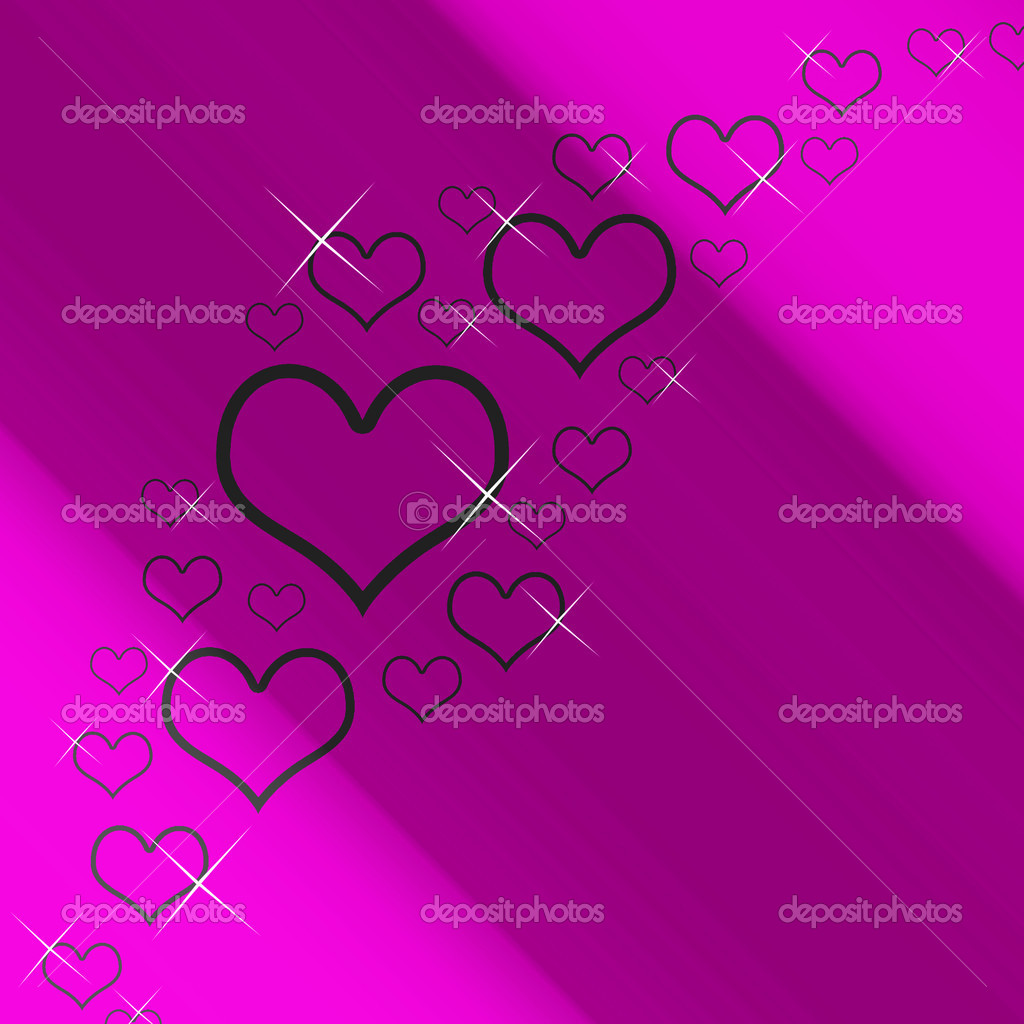 Mauve And Silver Hearts Background With Copyspace Shows Love Romance And Valentines — Stock Photo #10450023