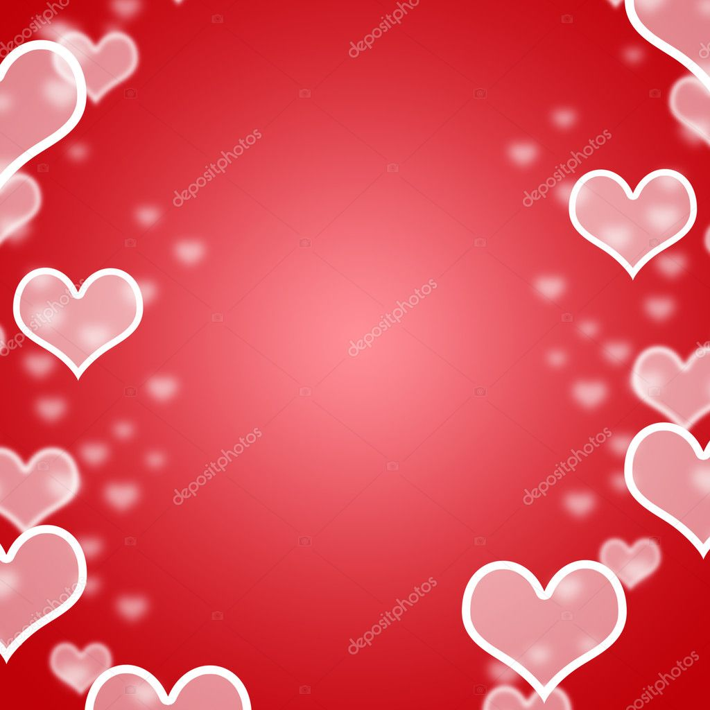 Red Hearts Bokeh Background With Blank Copyspace Showing Loving And Romance — Stock Photo #10450090