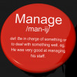 Manage Definition Button Showing Leadership Management And Super — Stock Photo